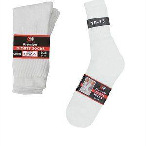Men's Crew Socks - White - 6 Pack - Cotton